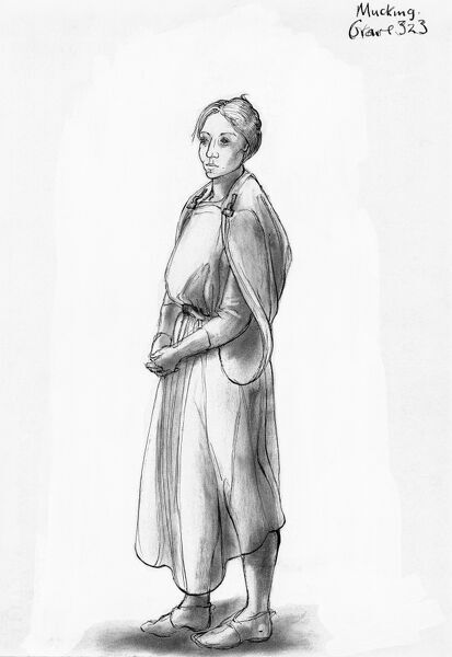 Mucking, Essex. Reconstruction drawing by Judith Dobie (English Heritage Graphics Team) showing a female wearing a tubular gown or peplos fastened by two brooches. Grave 323. Anglo Saxon