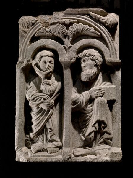 WENLOCK PRIORY, Shropshire. Lavabo panel carving 'Two apostles' from Much Wenlock. Held at the Atcham store - number 81500110