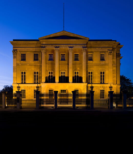 Apsley House, Hyde Park Corner, London. Exterior, south facing, at night