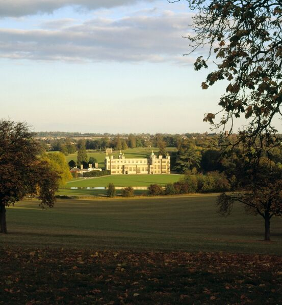 AUDLEY END HOUSE AND GARDENS, Saffron Walden, Essex. View from Ring Hill during the Autumn