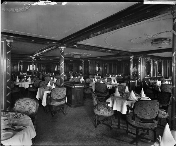 A general view in the B saloon, RMS Olympic, White Star Line, 1920-21