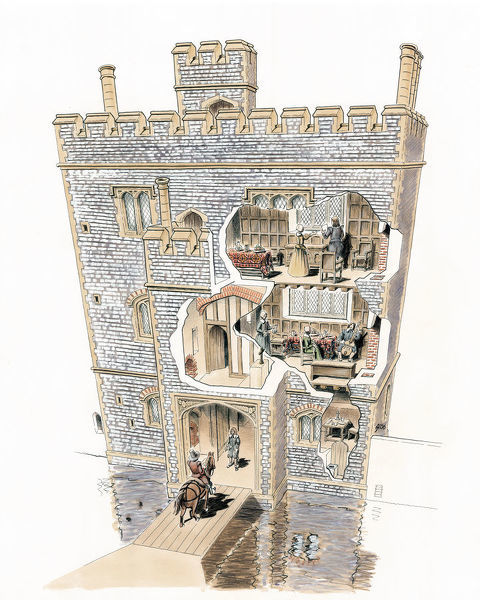 Baconsthorpe Castle, Norfolk. Reconstruction drawing, by Jill Atherton, showing a cutaway of inner gatehouse from the south-east, as it appeared in the mid-15th century