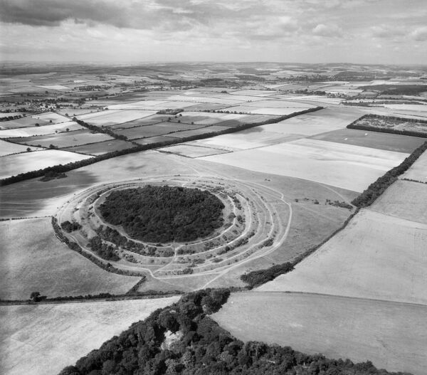 Badbury Rings and surrounding landscape from the north-east. Hillfort, East Dorset. 30th August 1947