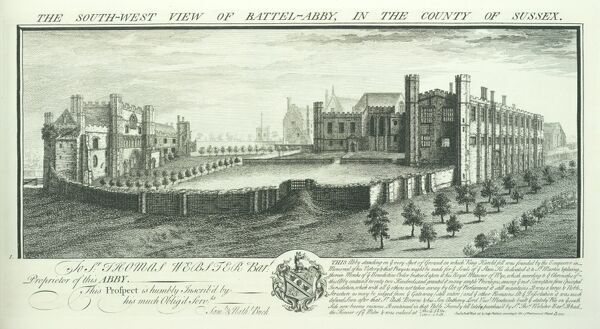 BATTLE ABBEY, East Sussex. 'The South West View of Battel Abby in the County of Sussex' by Samuel and Nathaniel Buck, 1737