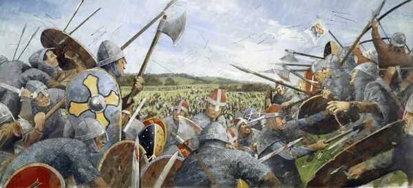 BATTLE ABBEY, East Sussex. Battle of Hastings 1066. Reconstruction drawing of the battle scene with soldiers by Ivan Lapper