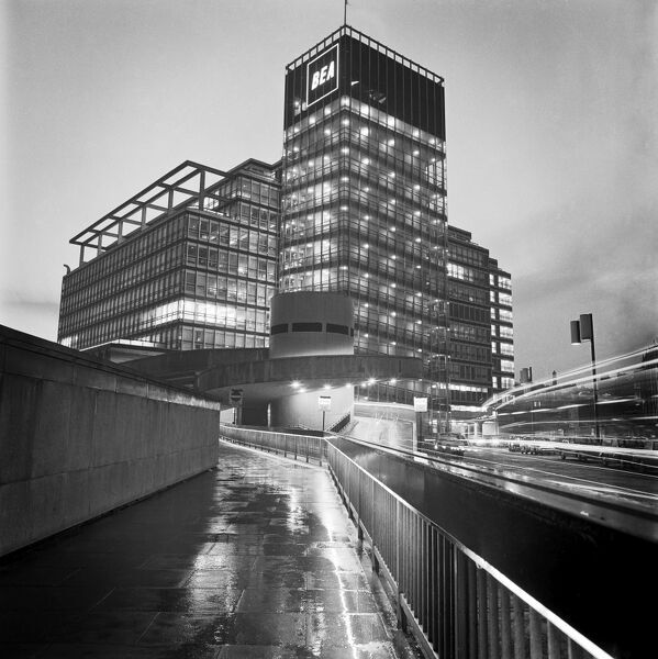 B E A AIR TERMINAL, Cromwell Road, Chelsea, London. The exterior illuminated at night. Photograph by John Gay. Date range: 1960 - 1972