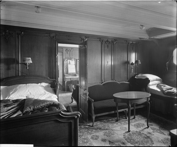 "The ""Louis XVI"" bedroom suite in cabin C59, RMS Olympic, White Star Line, 1920-21. The Olympic was sister ship to the ill-fated Titanic and Britannic. This Bedford Lemere and Company photograph was commissioned by the White Star Line"