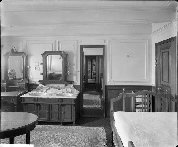 "The ""Modern"" bedroom suite in cabin C69, RMS Olympic, White Star Line, 1920-21. The Olympic was sister ship to the ill-fated Titanic and Britannic. This Bedford Lemere and Company photograph was commissioned by the White Star Line"