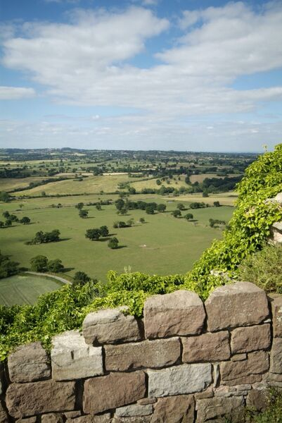 BEESTON CASTLE, Cheshire. View from the castle looking north across the Cheshire plain