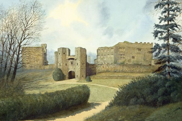 BERRY POMEROY CASTLE, Devon. Reconstruction drawing by Frank Gardiner (English Heritage Graphics Team) showing the 15th century defences, including the gatehouse and the Elizabethan mansion