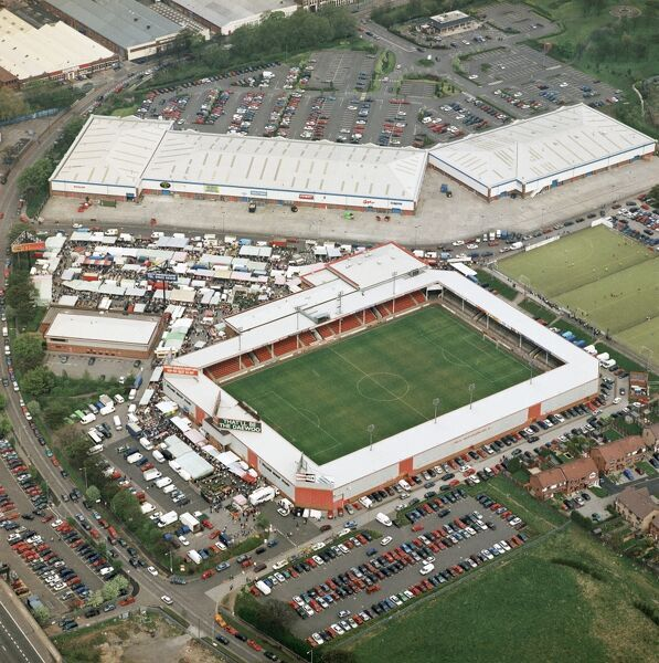 BESCOT STADIUM, Walsall. Home of Walsall Football Club since 1990. Photographed in April 2000. Aerofilms Collection (see Links)