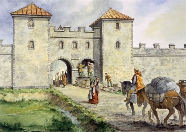 HADRIAN'S WALL: BIRDOSWALD ROMAN FORT, Cumbria. Reconstruction drawing by Philip Corke of the main West gate in the mid 3rd century AD