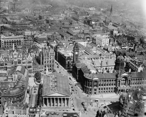 The Town Hall and municipal buildings at Victoria Square, Birmingham. Photograped in 1928 by Aerofilms Ltd