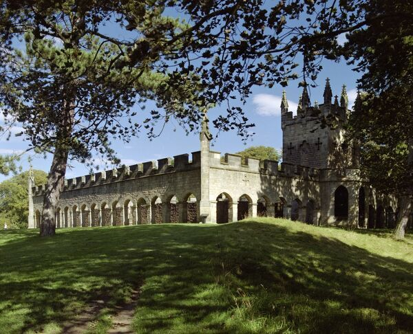 BISHOP AUCKLAND DEER HOUSE, Auckland Castle Park, Durham. Exterior view. The Gothic Revival 'eyecatcher' was built in 1760