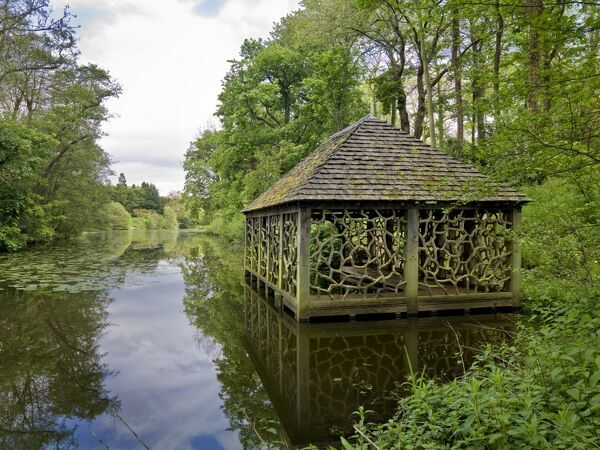 WITLEY COURT AND GARDENS, Worcestershire. View of the Boathouse and lake beyond