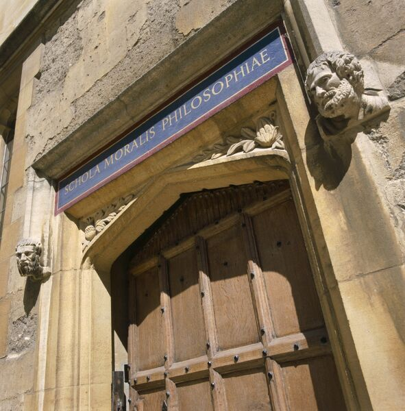 BODLEIAN LIBRARY, Oxford. Doorway of the library with inscription Schola Moralis Philosophiae (School of Moral Philosophy)