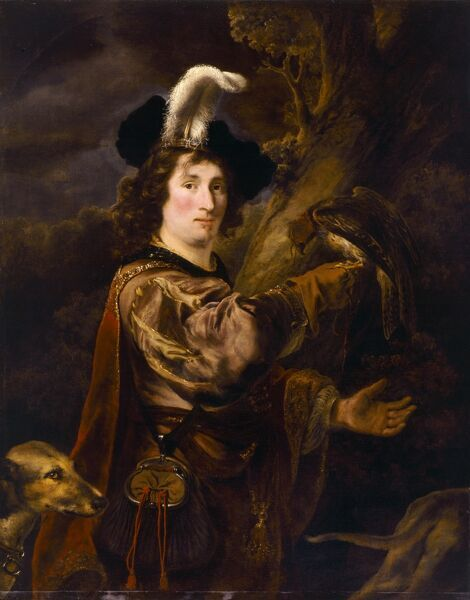 "KENWOOD HOUSE, SUFFOLK COLLECTION, London. "" The Falconer "" 1647 by Ferdinand Bol (1616-80)"