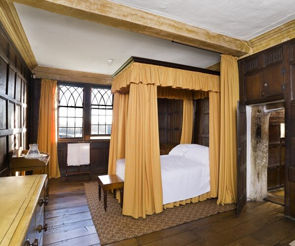 BOSCOBEL HOUSE, Staffordshire. Interior view. General view of the Squires Room, showing the four poster bed