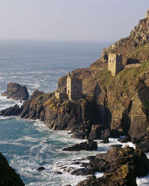 BOTALLACK MINE, Cornwall. View of the mine buildings on cliff overlooking the sea