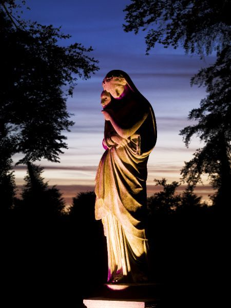 BRODSWORTH HALL, South Yorkshire. General view of a statue at night during a son-et-lumiere event