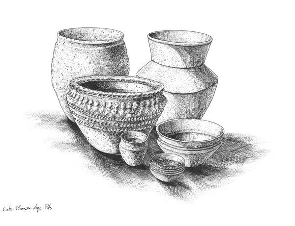 BRONZE AGE BRITAIN. Group of Late Bronze Age pots. Reconstruction drawing by Peter Dunn (English Heritage Graphics Team)