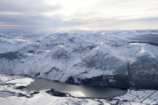Buttermere, Cockermouth, Lake District, Cumbria. A view of the lake from the North with snow on the ground
