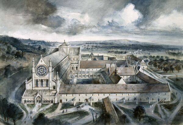 BYLAND ABBEY, North Yorkshire. Reconstruction drawing by Alan Sorrell showing the abbey as it might have appeared in the year 1539
