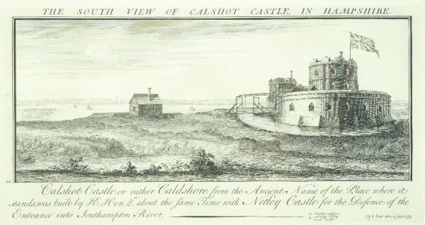 CALSHOT CASTLE, Hampshire. South view of Calshot Castle in Hampshire by Samuel and Nathaniel Buck (1739). This is one of the Henry VIII device forts on the Solent, protecting the mouth of Southampton Water
