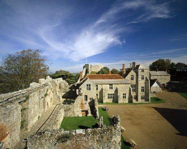 CARISBROOKE CASTLE, Isle of Wight. View of the castle from the wall-walk