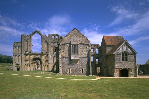 CASTLE ACRE PRIORY, Norfolk. West front of the church and prior's lodging