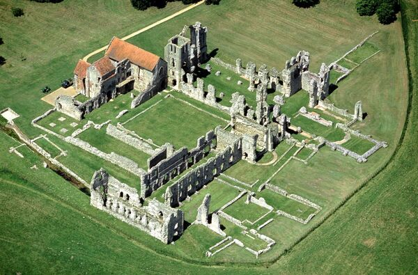CASTLE ACRE PRIORY, Norfolk. Aerial view