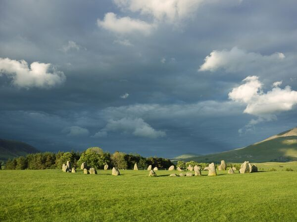 CASTLERIGG STONE CIRCLE, Cumbria. Storm clouds loom over the stone circle