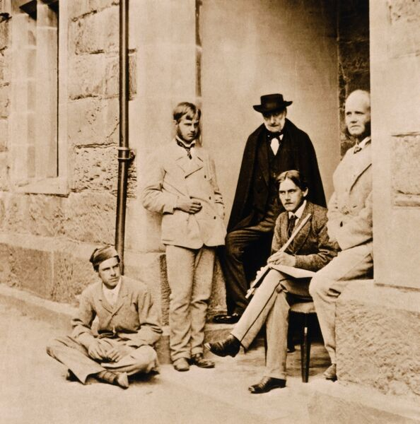 DOWN HOUSE, Kent. Charles Darwin's sons with their uncle Erasmus in 1870. From left Frank (Francis), Leonard, Erasmus, Horace and William