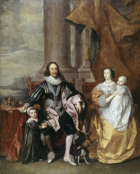 "CHISWICK HOUSE, London. "" Charles I, Queen Henrietta-Maria and Two of their Eldest Children"" by follower of VAN DYCK"