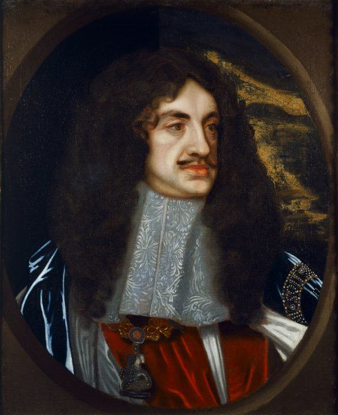 BOSCOBEL HOUSE, Staffordshire. Portrait of Charles II. Late 17th century oil canvas after a portrait by Sir Peter Lely