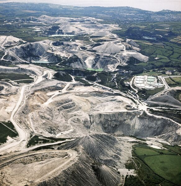 ST AUSTELL, Cornwall. Aerial photograph showing the China Clay works. Photographed in 1974. Aerofilms Collection (see Links)