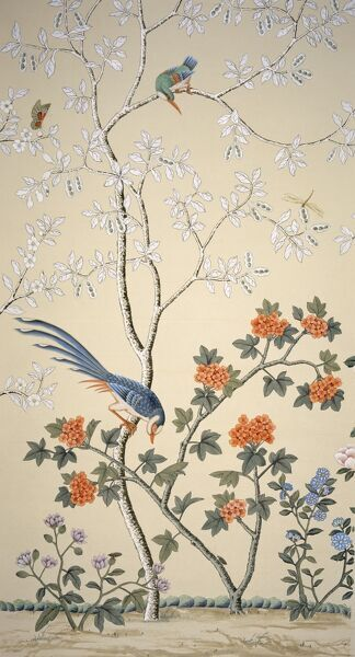 MARBLE HILL HOUSE, Richmond. Hand-painted Chinoiserie wallpaper