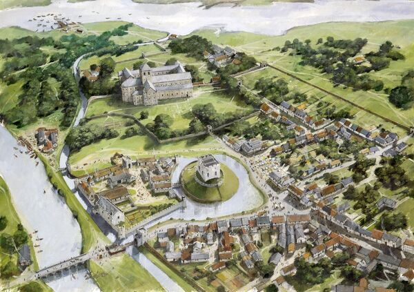 CHRISTCHURCH CASTLE & NORMAN HOUSE, Dorset. Aerial view of the Castle, Port and Priory depicted at the end of the 12th Century. Reconstruction drawing by Ivan Lapper