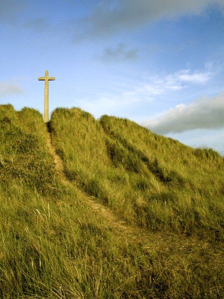 CHURCH OF ST PIRAN, near Perranporth, Cornwall. Site of St Piran's church. The cross among the sand dunes