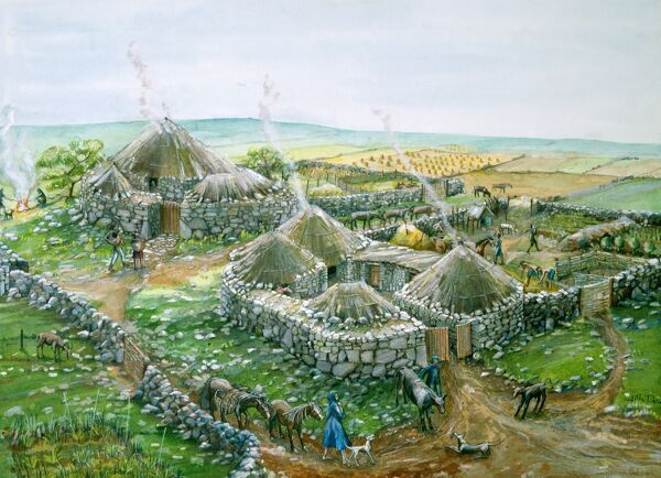 CHYSAUSTER ANCIENT VILLAGE, Cornwall. Iron Age reconstruction drawing by Judith Dobie (English Heritage Graphics Team)
