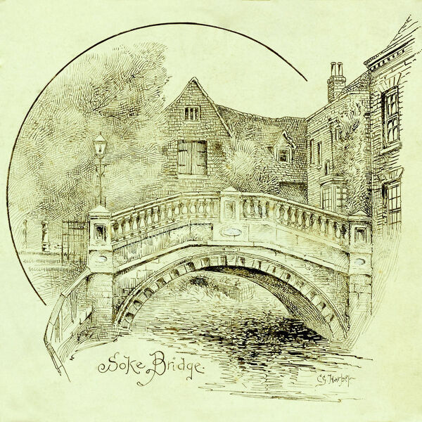 A view from the south of City Bridge (Soke Bridge), with City Mill beyond, Winchester, Hampshire. Drawing by Charles George Harper. Date range: 1892-1933