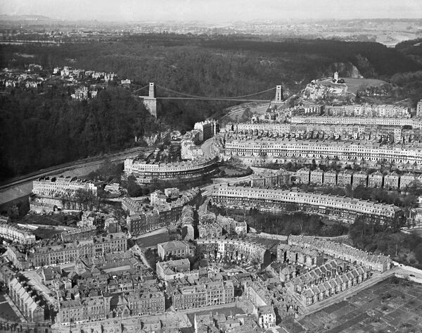 CLIFTON, Bristol. Aerial view of Clifton showing the Avon Gorge and Suspension Bridge photographed in March 1921