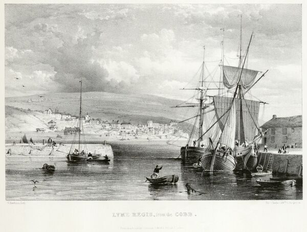 "MAYSON BEETON COLLECTION. Lyme Regis, Dorset. ""Lyme Regis from the Cobb"" showing small boats and fishing vessels with the town beyond. Engraving dated 1835"