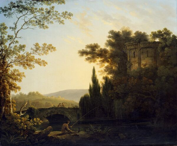 KENWOOD HOUSE, THE IVEAGH BEQUEST, London. 'Classical Landscape with a Temple' 1788 by Richard CORBOULD (1757-1831)