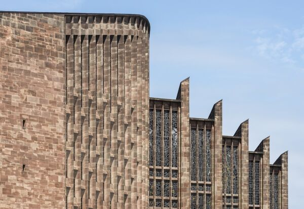 St Michael's Cathedral, Coventry, West Midlands. Exterior, roof detail of the new Cathedral by Basil Spence from the south