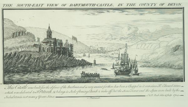 DARTMOUTH CASTLE, Devon. ' South east view of Dartmouth Castle in the county of Devon' by Samuel and Nathaniel Buck 1734