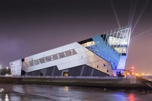 THE DEEP, Tower St, Hull, East Yorkshire. General view of aquarium and light show for opening of Hull City of Culture, view from west