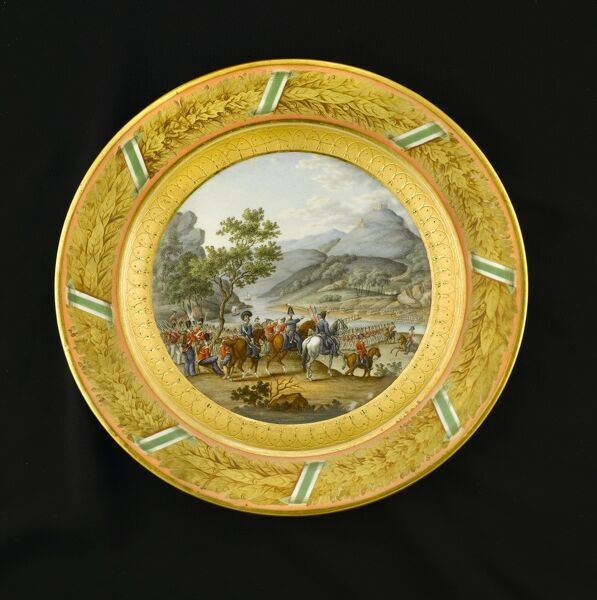 APSLEY HOUSE, Hyde Park Corner, London. Item from the Wellington Museum depicting the crossing of the River Mondego, Portugal (1810). Part of a dinner service which was given as a gift from the King of Saxony to the Duke of Wellington in 1819