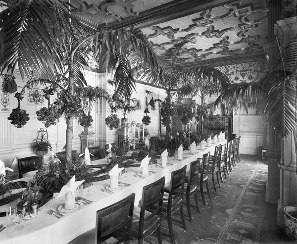 "THE SAVOY HOTEL, The Strand, City of Westminster. Interior view of the red dinner table in the ""Pinafore Room"". Photograph by Bedford Lemere, taken for the hotel management in December 1895"