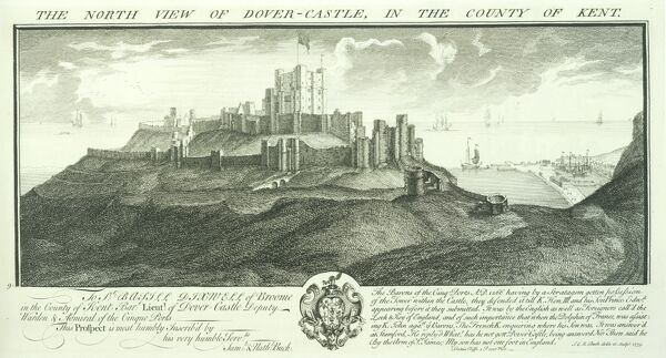DOVER CASTLE, Kent. 'The North View of Dover Castle in the County of Kent' by Samuel and Nathaniel Buck, 1735